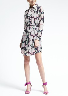 Floral Ruffle-Front Shirtdress
