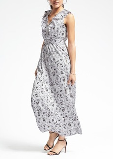 Floral Ruffle-Vee Maxi Dress