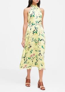 Banana Republic Floral Soft Satin Midi Dress