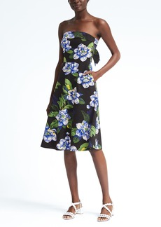 Floral Strapless Ponte Fit-and-Flare Dress