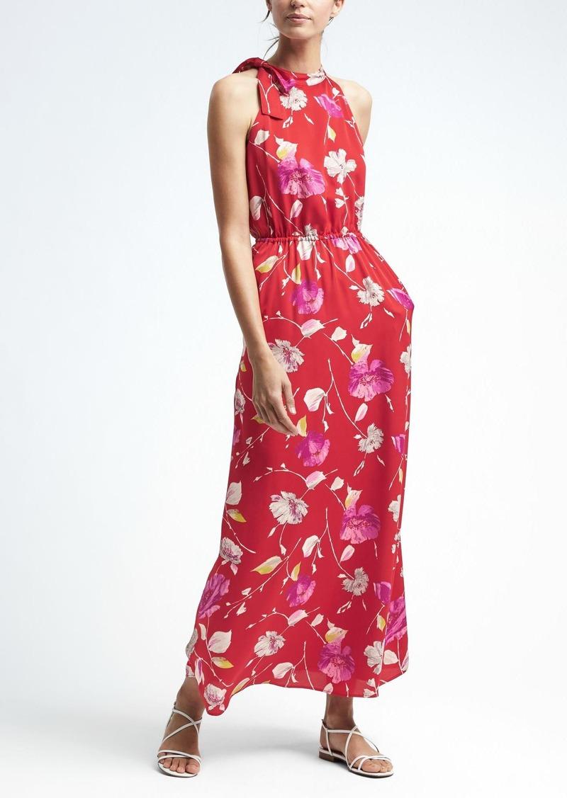 b7180b15af0 Banana Republic Floral Tie-Neck Maxi Dress