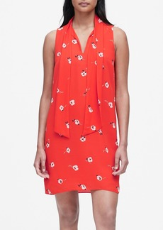 Banana Republic Floral Tie-Neck Shift Dress