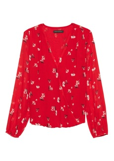 Banana Republic Floral Wrap-Front Top