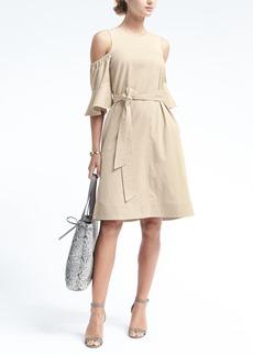 Flutter-Sleeve Twill Dress