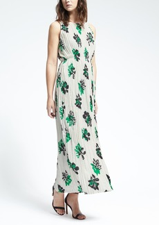 Gathered Floral Pleat Maxi Dress