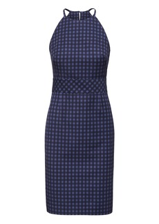 Banana Republic Gingham Bi-Stretch Racer-Neck Sheath Dress