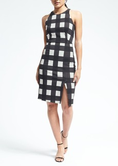 Gingham Bi-Stretch Sheath Dress