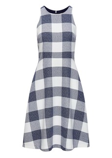 Gingham Tweed Fit-and-Flare Dress