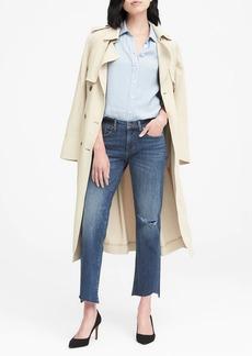 Banana Republic Girlfriend Medium Wash Jean with Asymmetrical Fray Hem