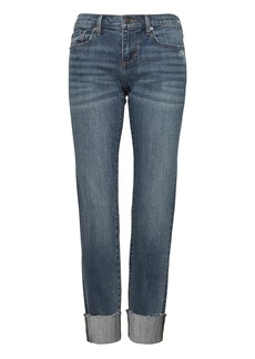 Banana Republic Girlfriend Medium Wash Jean with Fray Hem