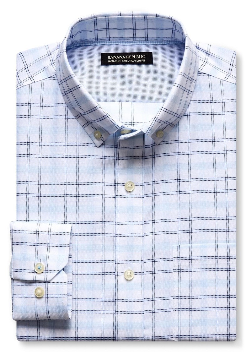 Banana Republic Grant-Fit Blue Check Non-Iron Shirt