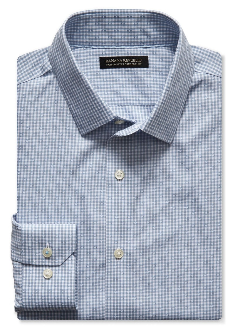 Banana Republic Grant-Fit Dobby Gingham Non-Iron Shirt