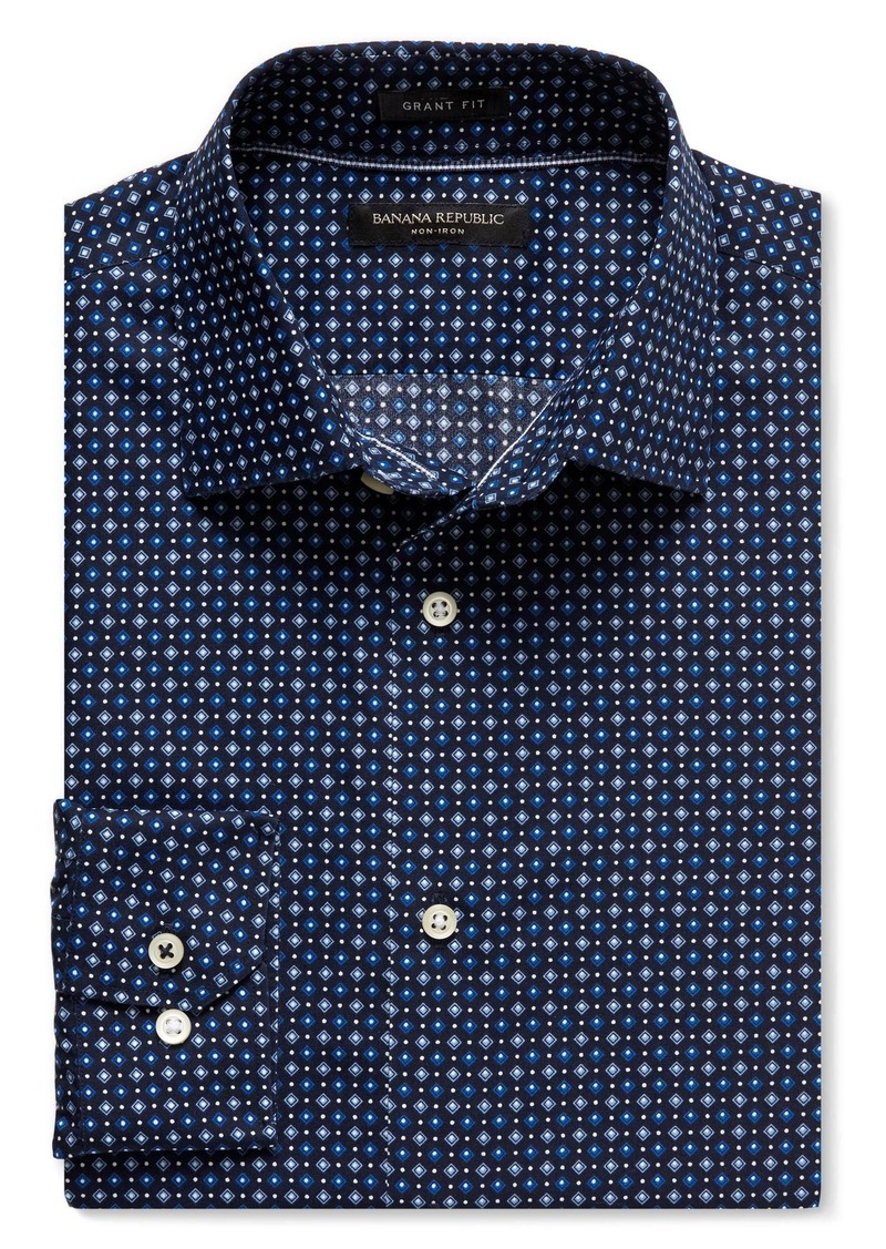 Banana Republic Grant-Fit Geo Print Non-Iron Cotton Shirt