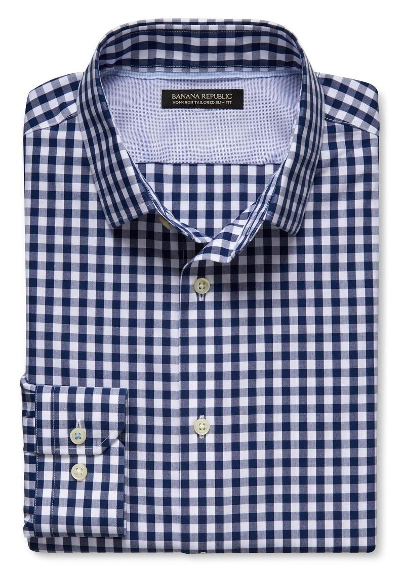 Banana Republic Grant-Fit Non-Iron Blue Gingham Shirt