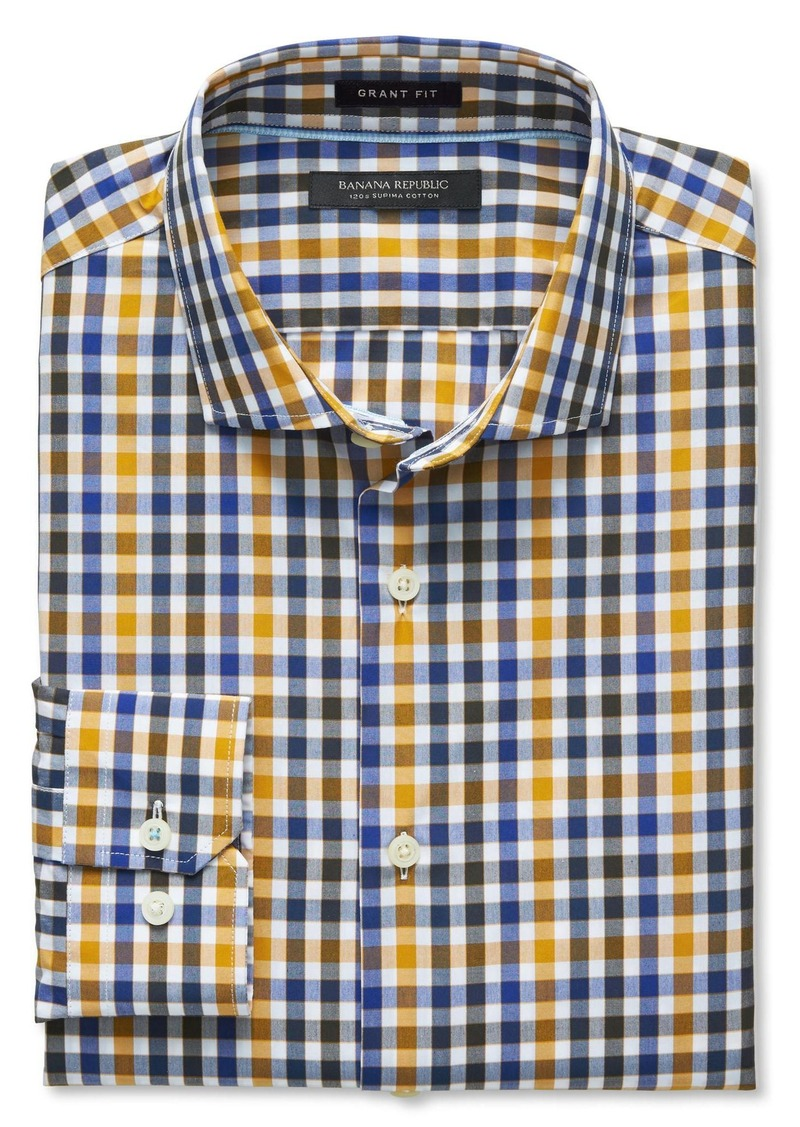 Banana Republic Grant-Fit Supima Cotton Tri-Tone Gingham Shirt