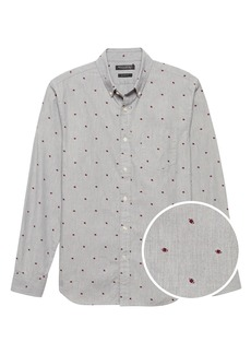 Banana Republic Grant Slim-Fit Cotton Oxford Football Print Shirt