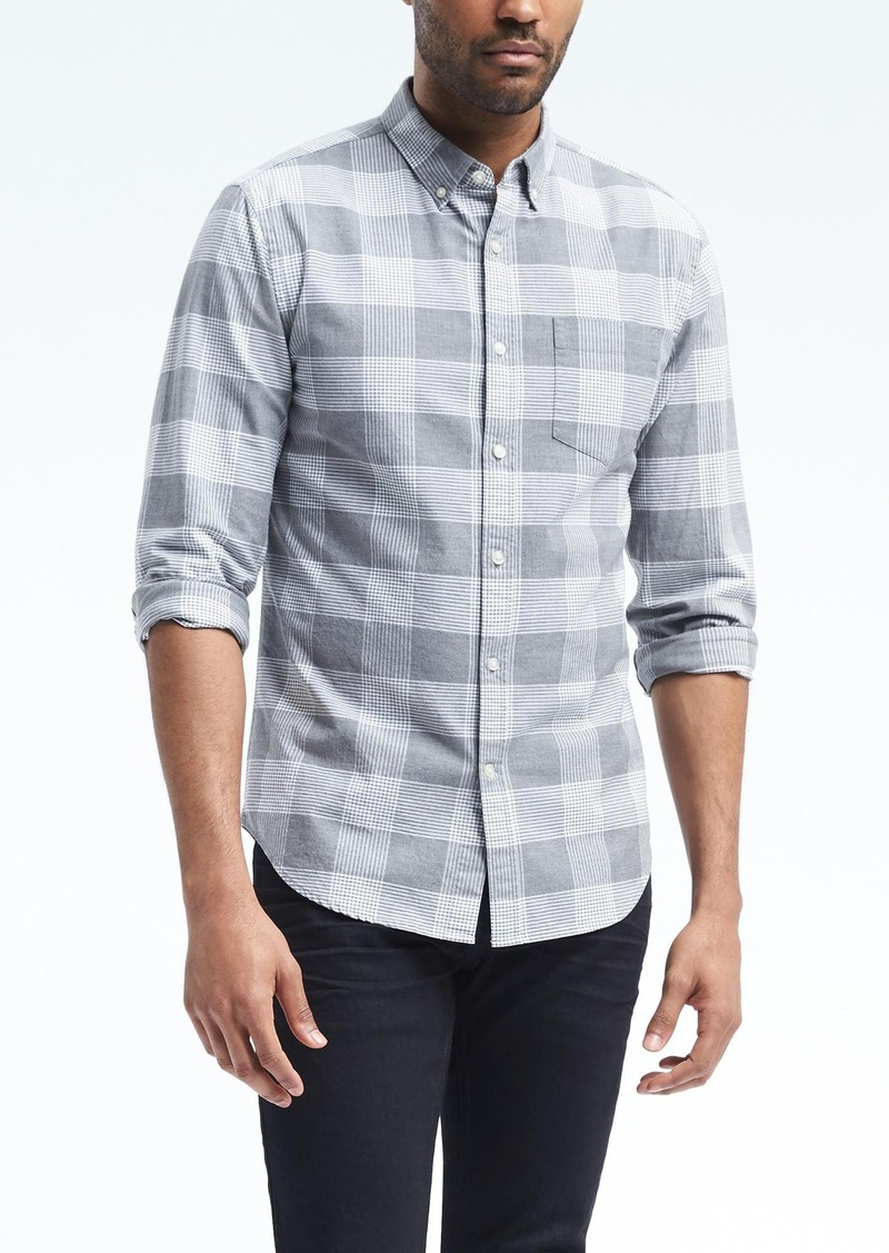 530234821add53 Banana Republic Grant Slim-Fit Cotton-Stretch Check Oxford Shirt ...