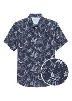 Banana Republic Grant Slim-Fit Luxe Poplin Short-Sleeve Floral Shirt