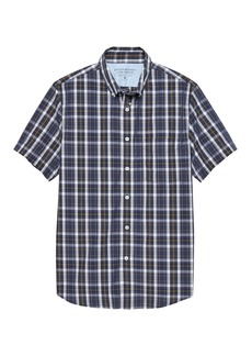 Banana Republic Grant Slim-Fit Luxe Poplin Short-Sleeve Plaid Shirt