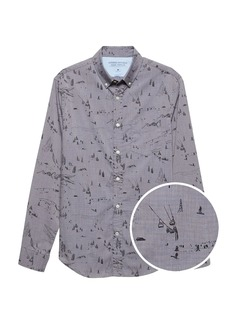 Banana Republic Grant Slim-Fit Luxe Poplin Ski Print Shirt