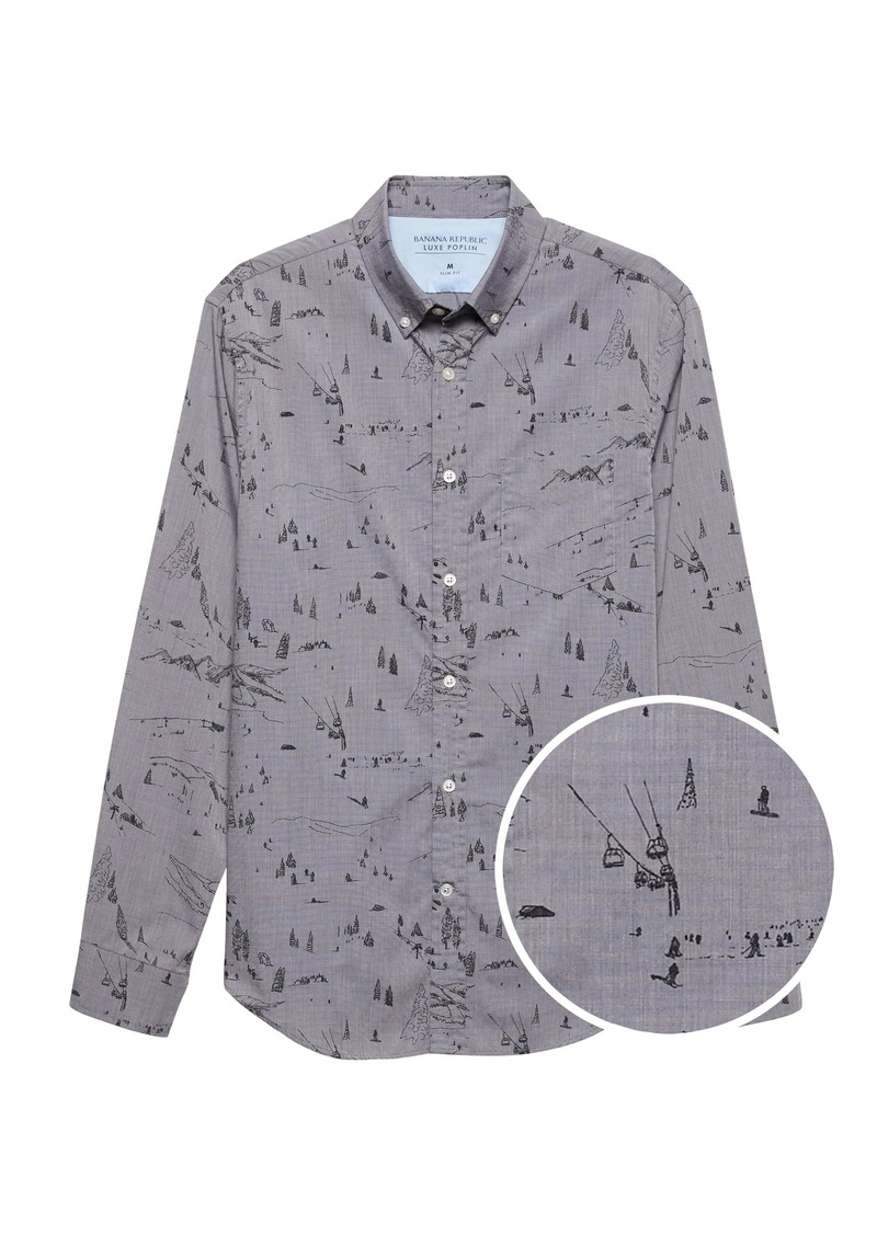 Banana Republic Slim-Fit Luxe Poplin Ski Print Shirt