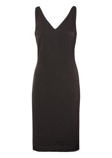 Hammered Satin V-Neck Shift Dress