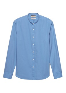 Banana Republic Heritage Grant Slim-Fit Cotton-Stretch Banded-Collar Shirt