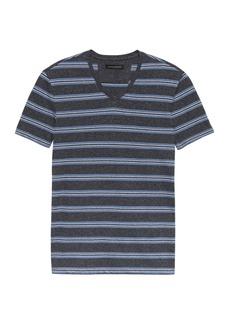 Banana Republic Heritage Linen-Cotton Stripe V-Neck T-Shirt