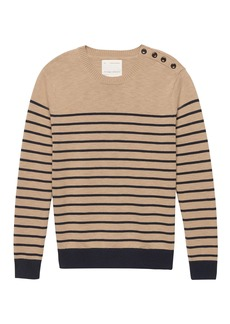 Banana Republic Heritage Mariner Stripe Cotton Button-Shoulder Sweater