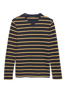 Banana Republic Heritage Stripe Long-Sleeve Textured Crew-Neck T-Shirt
