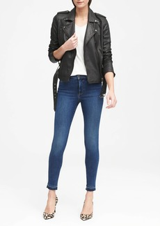 Banana Republic High-Rise Legging-Fit Luxe Sculpt Medium Wash Ankle Jean with Fray Hem