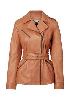 Italian Leather Belted Moto Jacket