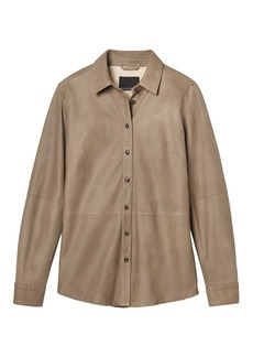 Italian Leather Shirt Jacket