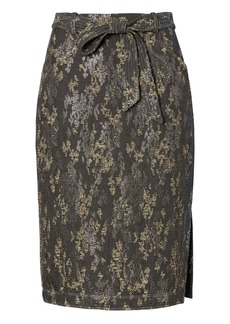 Banana Republic Jacquard Belted Pencil Skirt with Side Slit