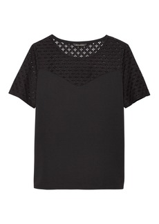 Banana Republic Lace Sweetheart Ponte Top