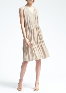 Lace-Trim Pleated Dress