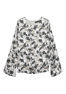 Banana Republic Leaf Print Bell-Sleeve Top