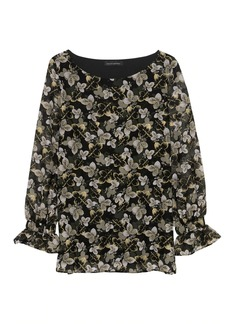 Banana Republic Leaf Print Poet-Sleeve Top