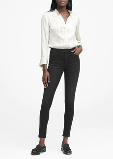 Banana Republic High-Rise Legging-Fit Black Ankle Jean with Fray Hem