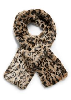 Banana Republic Leopard Faux Fur Pull-Through Scarf