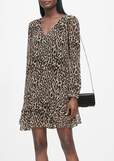 Banana Republic Leopard Flounce-Hem Dress