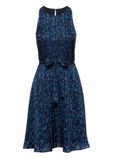 Banana Republic Leopard Print Racer-Neck Fit-and-Flare Dress