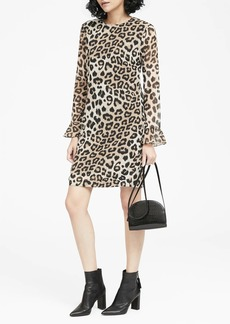 Banana Republic Leopard Print Ruffle-Cuff Shift Dress