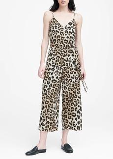 Banana Republic Leopard Print Wide-Leg Cropped Jumpsuit