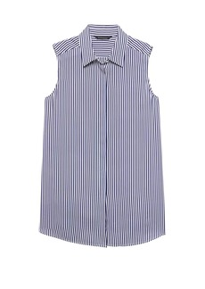Banana Republic LIFE IN MOTION Parker Tunic-Fit Stripe Washable Silk Sleeveless Shirt with Crossover Back
