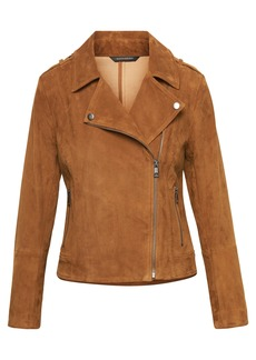 LIFE IN MOTION Stretch Suede Moto Jacket