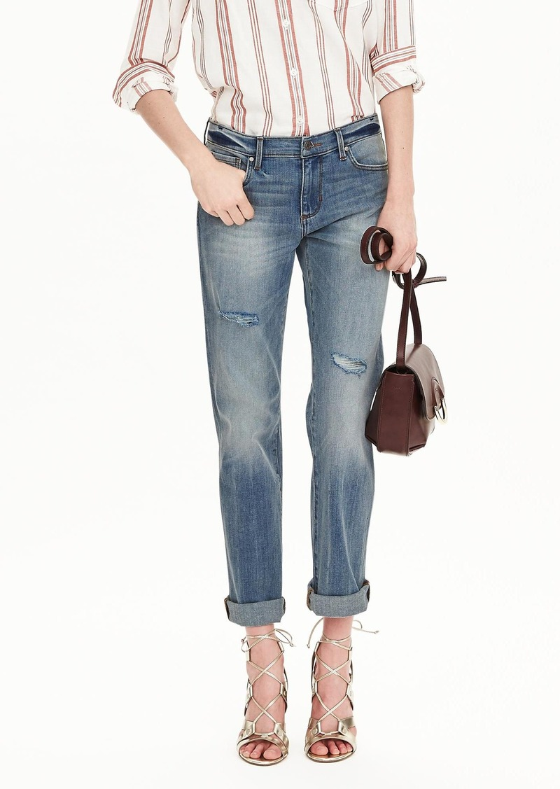 Banana Republic Light Wash Patchwork Straight Jean