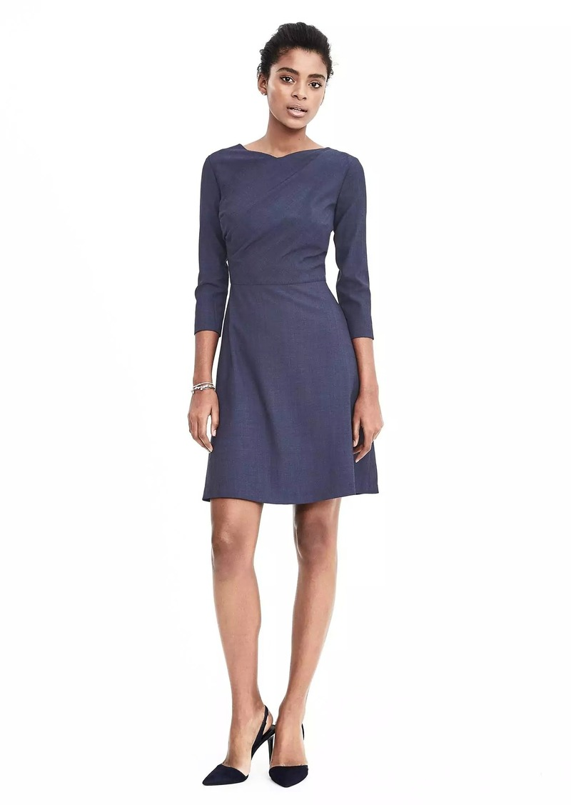 Sale Banana Republic Lightweight Wool Fit And Flare Dress