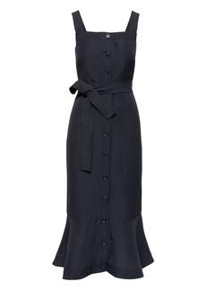 Banana Republic Linen-Blend Button-Front Midi Dress