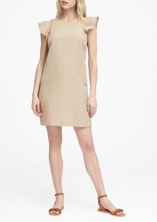 Banana Republic Linen-Blend Flutter-Sleeve Dress